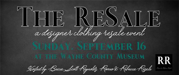 The ReSale, a designer clothing sale  September 16
